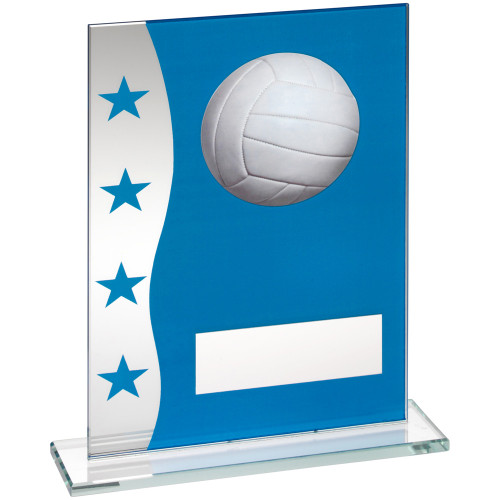 Blue and silver glass Volleyball trophy in 3 sizes at superb affordable prices