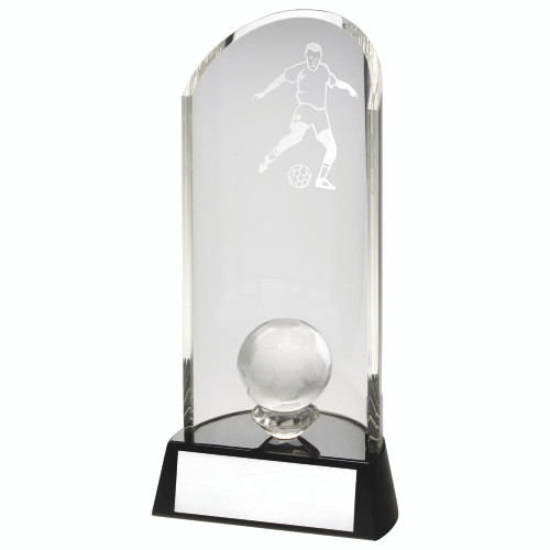 A stunning glass 3D football award that includes FREE engraving AND presentation box from 1st Place 4 Trophies