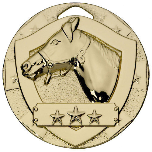 50mm Gold Embossed Equestrian Horse head medal with FREE Engraving!