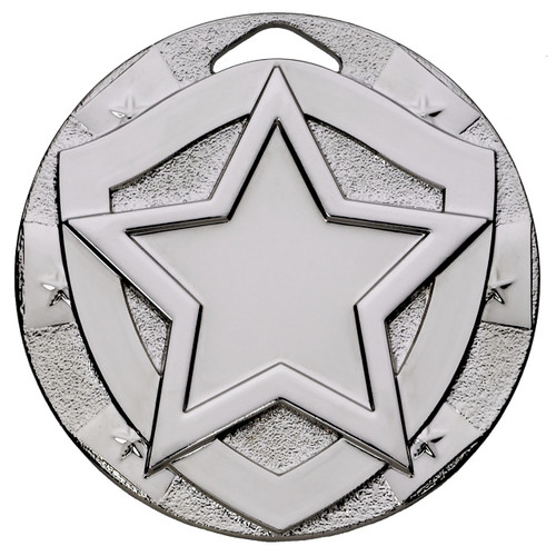 Silver 50mm embossed Achievement Medal with FREE ENGRAVING