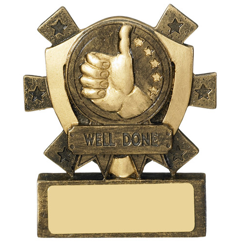 Star Shield WELL DONE Award. A budget, low cost trophy with FREE engraving.