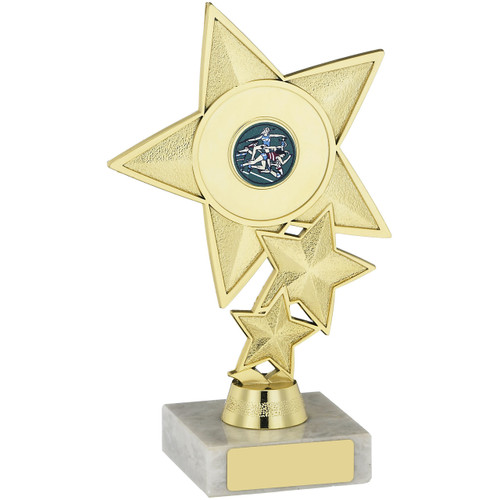 Triple Star Gold Multisport Trophy with FREE engraving at 1stPlace4Trophies