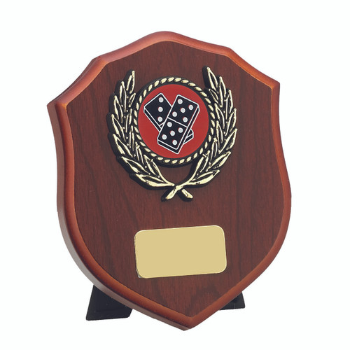 Stylish Mahogany Wood Finish Laurel Shield available in 3 sizes with FREE engraving.