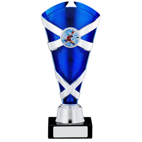 Blue and Silver X Multi sport or activity trophy with FREE engraving.