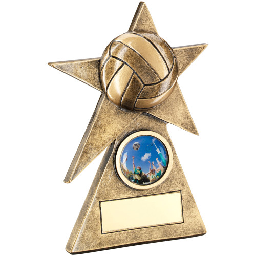 Gold Star Netball trophy with 3D ball set on a star. This award includes FREE engraving.