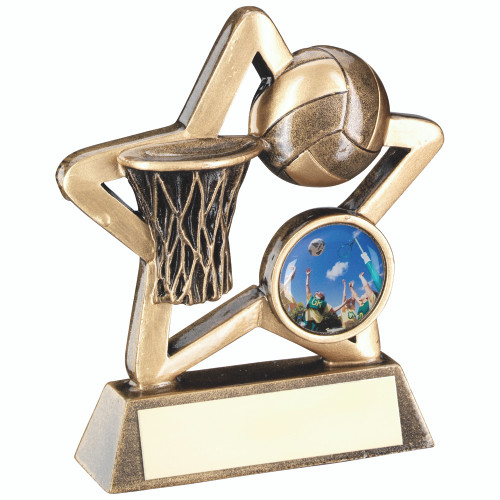 Excellent budget Netball Award with centre insert available with FREE personalised engraving.