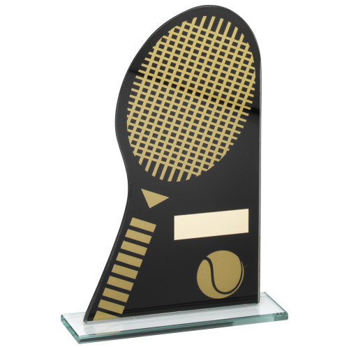 Superb budget stylish black and gold glass tennis award that includes FREE engraving from 1st Place 4 Trophies