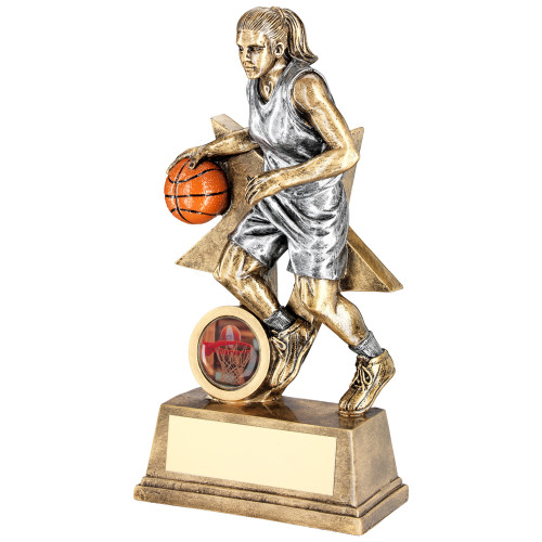 Resin female basketball player figure trophy. 2 sizes at excellent prices and with FREE personalised engraving too!