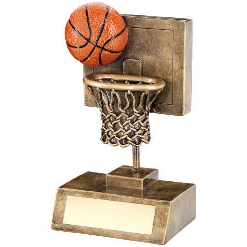 Fantastic Basketball and hoop trophy available in 2 sizes that include FREE personalised engraving too!