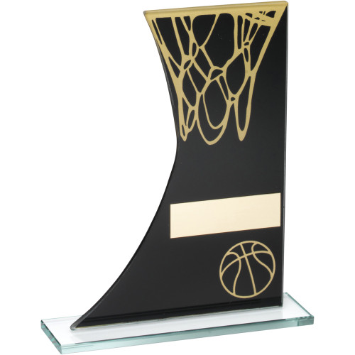 Black and gold glass side curved Basketball award that includes FREE personalised engraving.