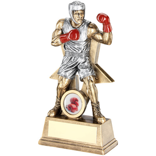 Fabulous Boxing trophy of a male boxer with red gloves. available in 3 sizes and with FREE personalised engraving.