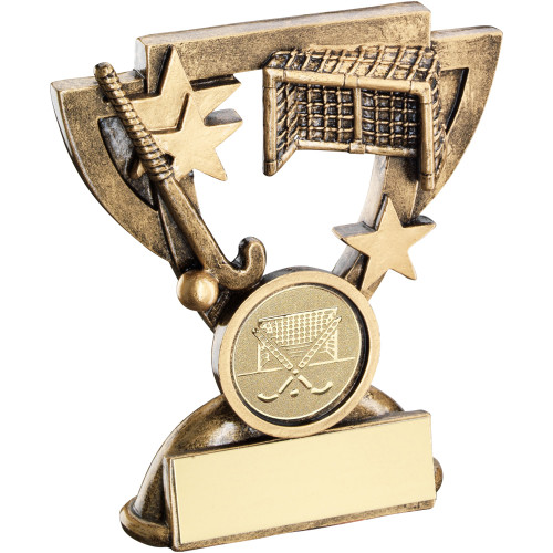 Hockey stick, ball and goal award on a cup shaped frame with stars. Available with FREE engraving.