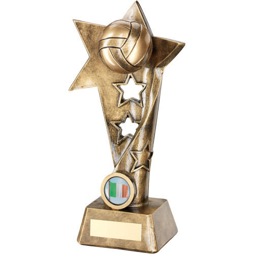 Gaelic football award with full 3D ball. This trophy comes in 3 sizes and includes FREE engraving.