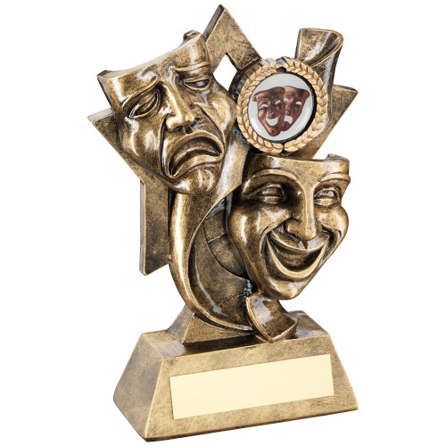 Theatre drama comedy and tragedy masks star trophy. Includes FREE personalised engraving.