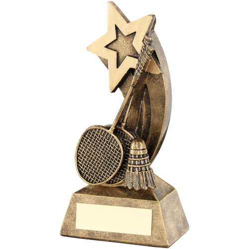 Shooting star gold low price badminton award. 2 sizes with FREE engraving.