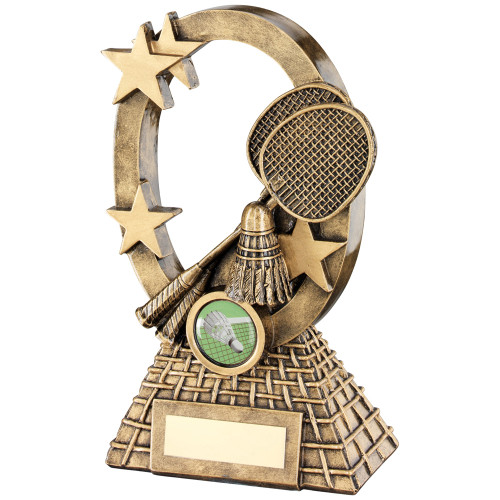 Oval Star affordable gold Badminton award in 2 sizes and with FREE personalised engraving.