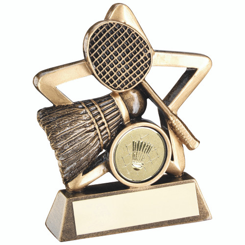 Mini Star Badminton Award. 1st Place 4 Trophies also include FREE personalised engraving and a standard sport centre.