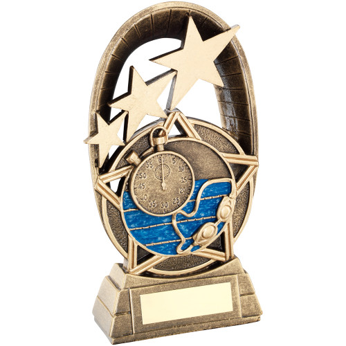 Swimming Award with timer, pool and goggles. Available in 3 sizes and with FREE engraving.