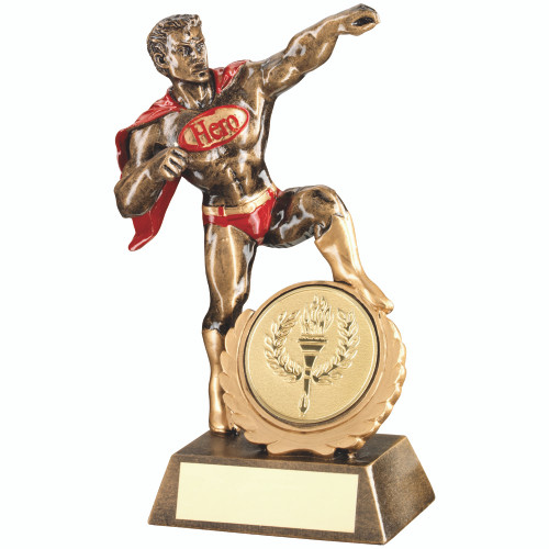 "Novelty Sporting Hero Award with 2"" centre and FREE engraving."