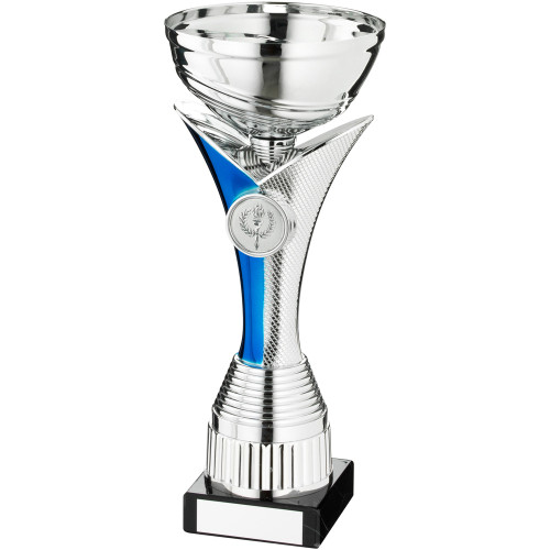 Stunning V Column silver and blue trophy cup available in 4 sizes and FREE personalised engraving.