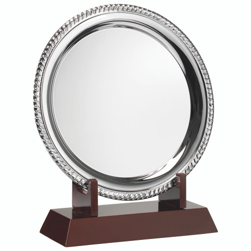 Rope edge salver tray with FREE stand and personalised engraving available on all 6 sizes.