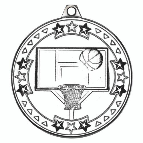 50mm Silver Basketball Medal Award