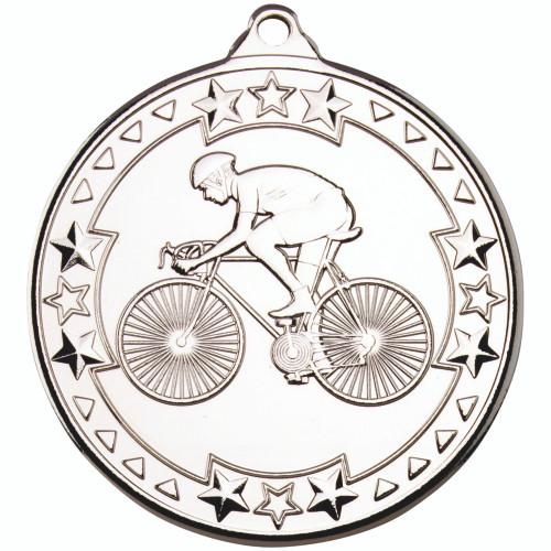 50mm Silver Cycling Medal Award