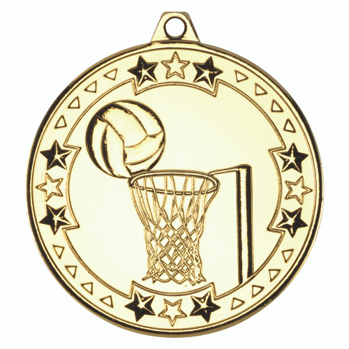 50mm Gold Netball Medal Award