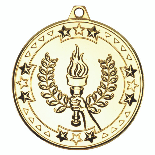 50mm Gold Victory Torch Medal Award