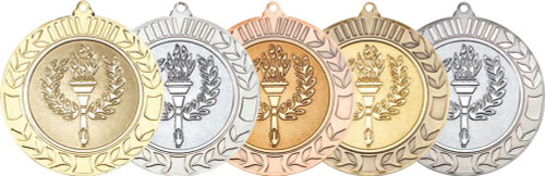 """Gold, Silver, Bronze, Antique Gold and Antique Silver 70mm Wreath Torch & Flame Medals with 2"""" centres"""