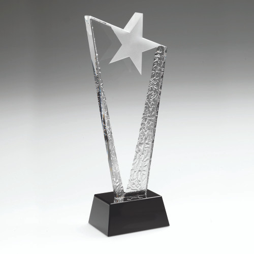 Exquisite clear/black premium glass asymmetric star trophy available in 3 sizes with FREE personalised engraving.