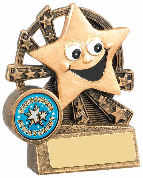 Smiley star achievement trophy to reward success and progress, for sport or academic events.
