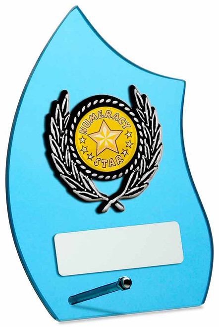 Beautiful blue glass modern any sport award squash, tennis, badminton