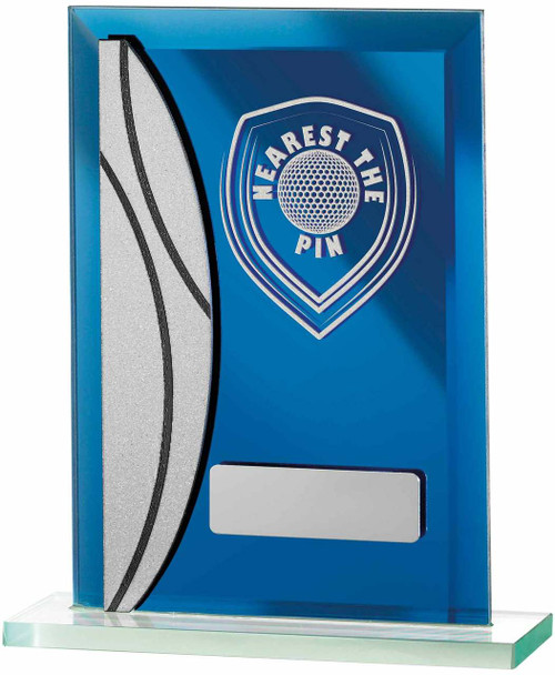 Blue Mirror Glass Golf Award with FREE engraving